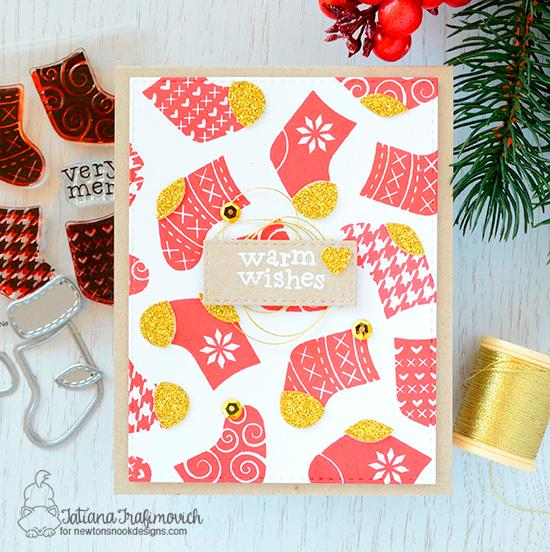 Christmas Stockings Card by Tatiana Trafimovich | Stylish Stockings Stamp Set by Newton's Nook Designs #newtonsnook #handmade
