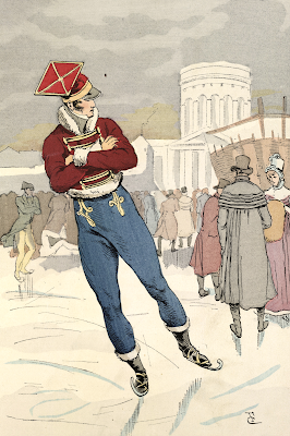 Skaters on the reservoir at La Villette (1813)  Fashion in Paris (1898) from British Library