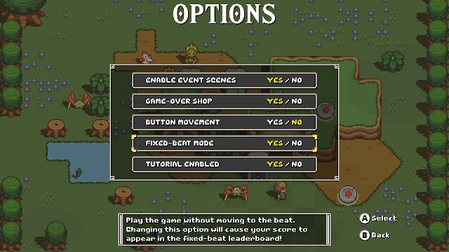 Cadence of Hyrule gameplay options menu fixed-beat mode yes