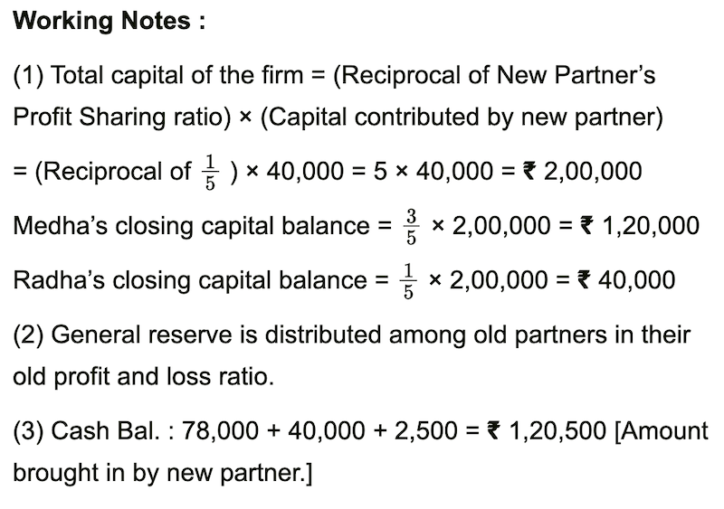 The balance sheet of Medha and Radha who share profit and loss in the ratio 3: 1 is as follows Practical Problems | Q 7 | Page 164 Admission of Partner Practical Problems