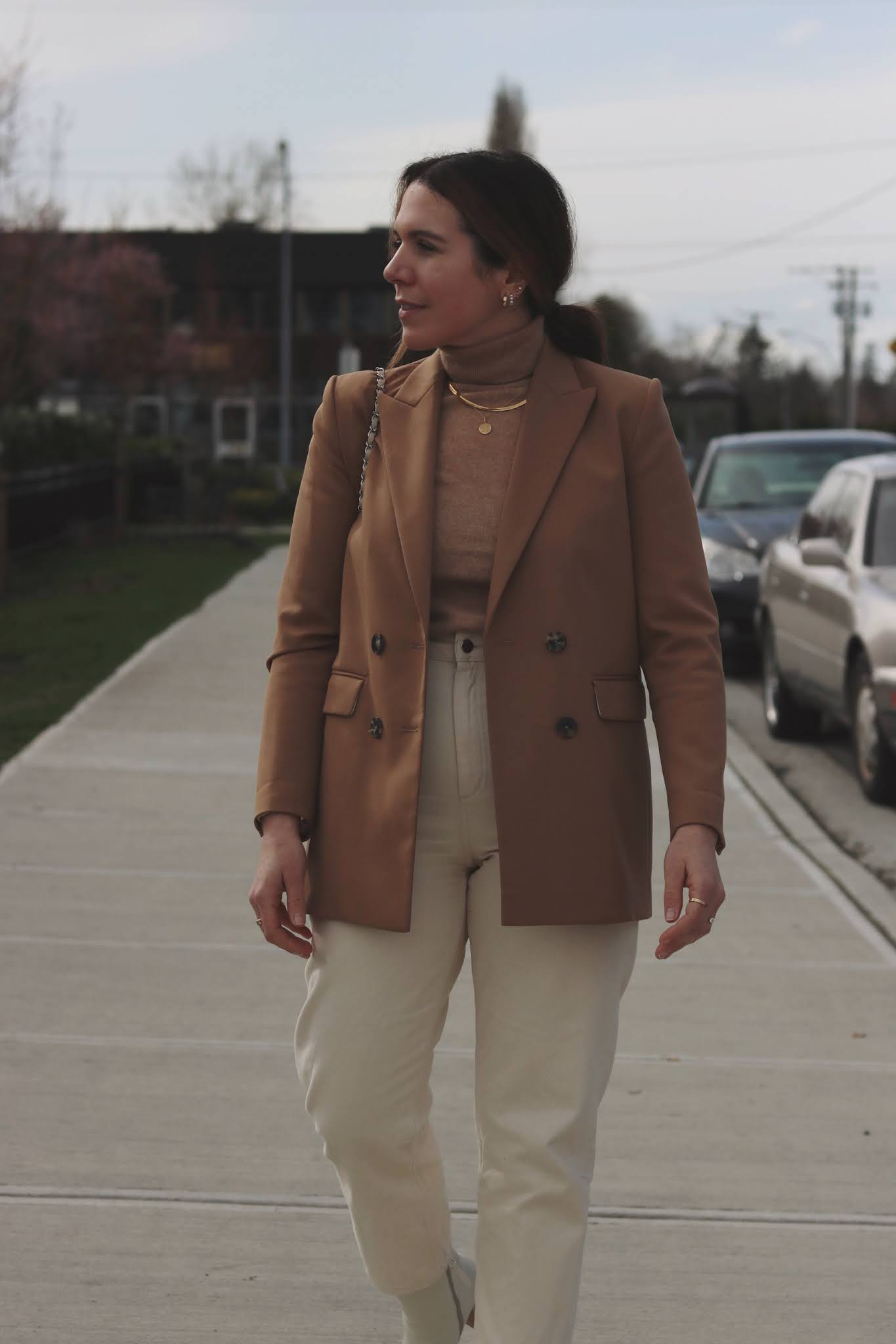beige and camel outfit sandro blazer chanel french riviera flap la canadienne boots