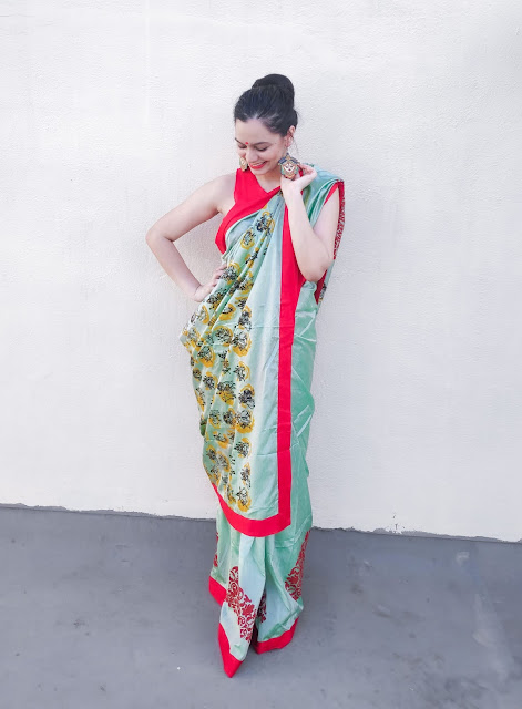 printed saree draping to show pallu, how to drape a saree, saree draping for silk saree, how to drape a silk saree, new ways to style a saree
