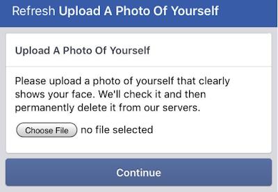 Фейсбук просит загрузить фото лица при регистрации аккаунта