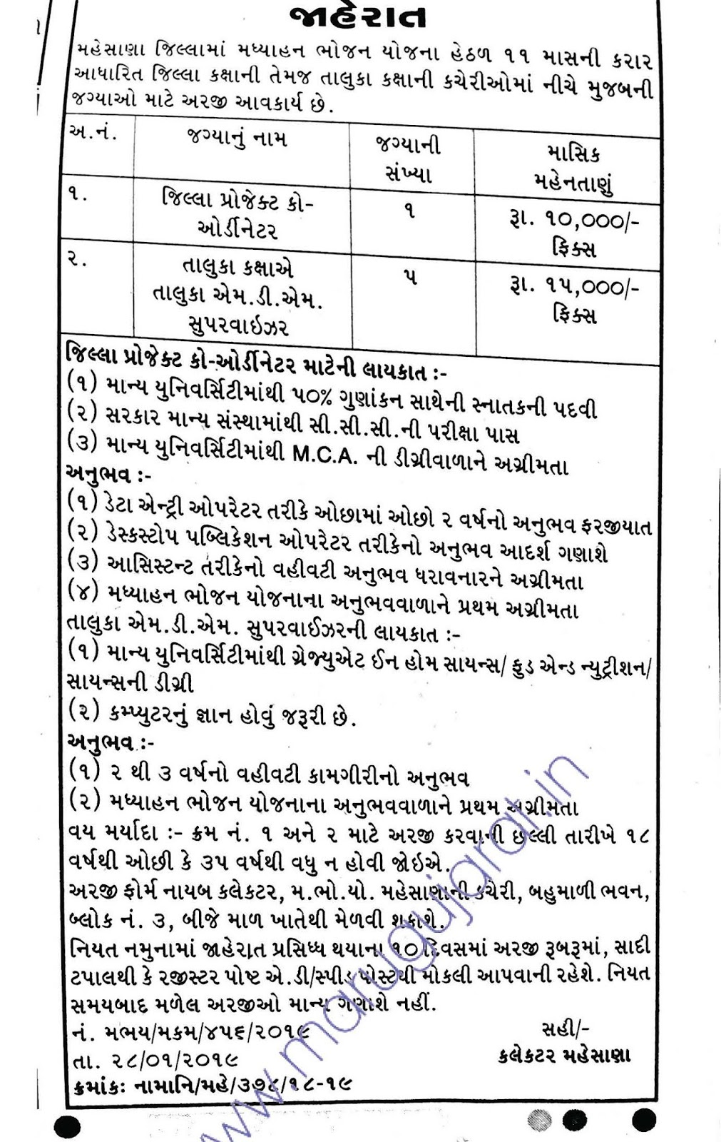 Mid Day Meal, Mehsana Recruitment for Various Posts 2019
