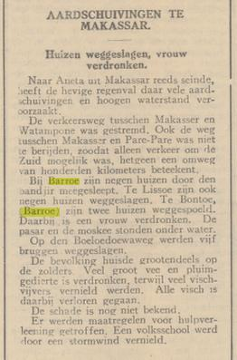 """Artikel pada koran """"De Bredasche Courant"""" yang mengabarkan tentang banjir di Barru pada tahun 1935"""