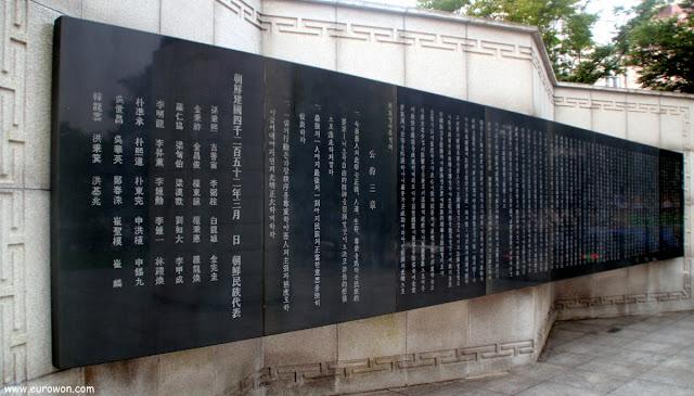 Monumento a la declaración de independencia de Corea del 1 de marzo de 1919