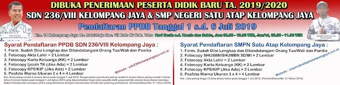 Spanduk Pengumuman PPDB SDN 236/VIII Kelompang Jaya Tahun Pelajaran 2019/2020