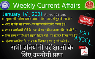 Weekly Current Affairs ( January IV , 2021 )
