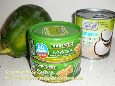 Ginataang Papaya with Canned Tuna - Ingredients