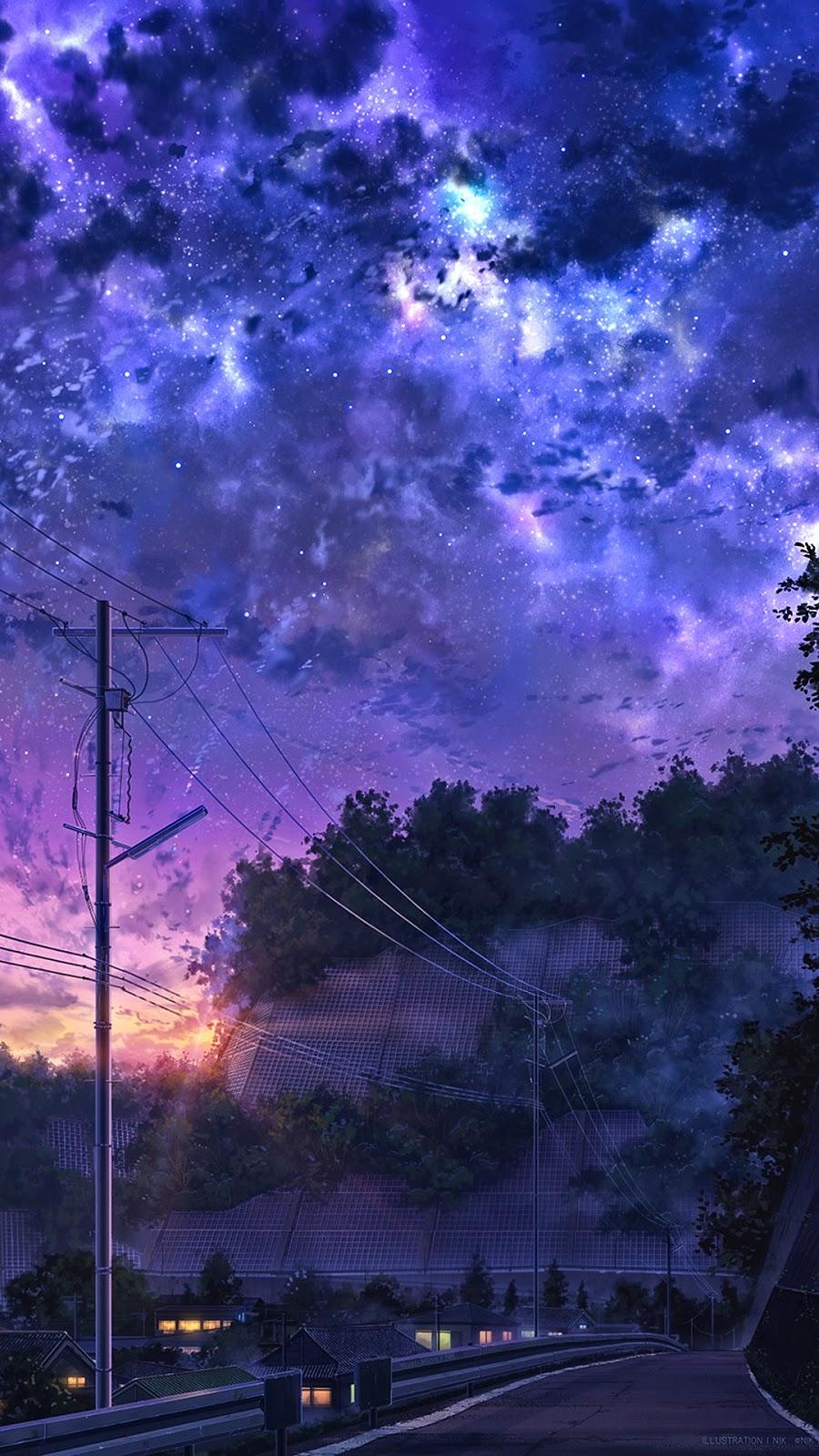 Phong cảnh anime với bầu trời đây sắc màu
