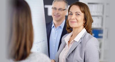 Women executive negotiating employment agreement