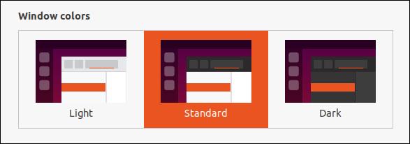 خيارات اختيار سمة Ubuntu 20.04 في مربع حوار الإعدادات