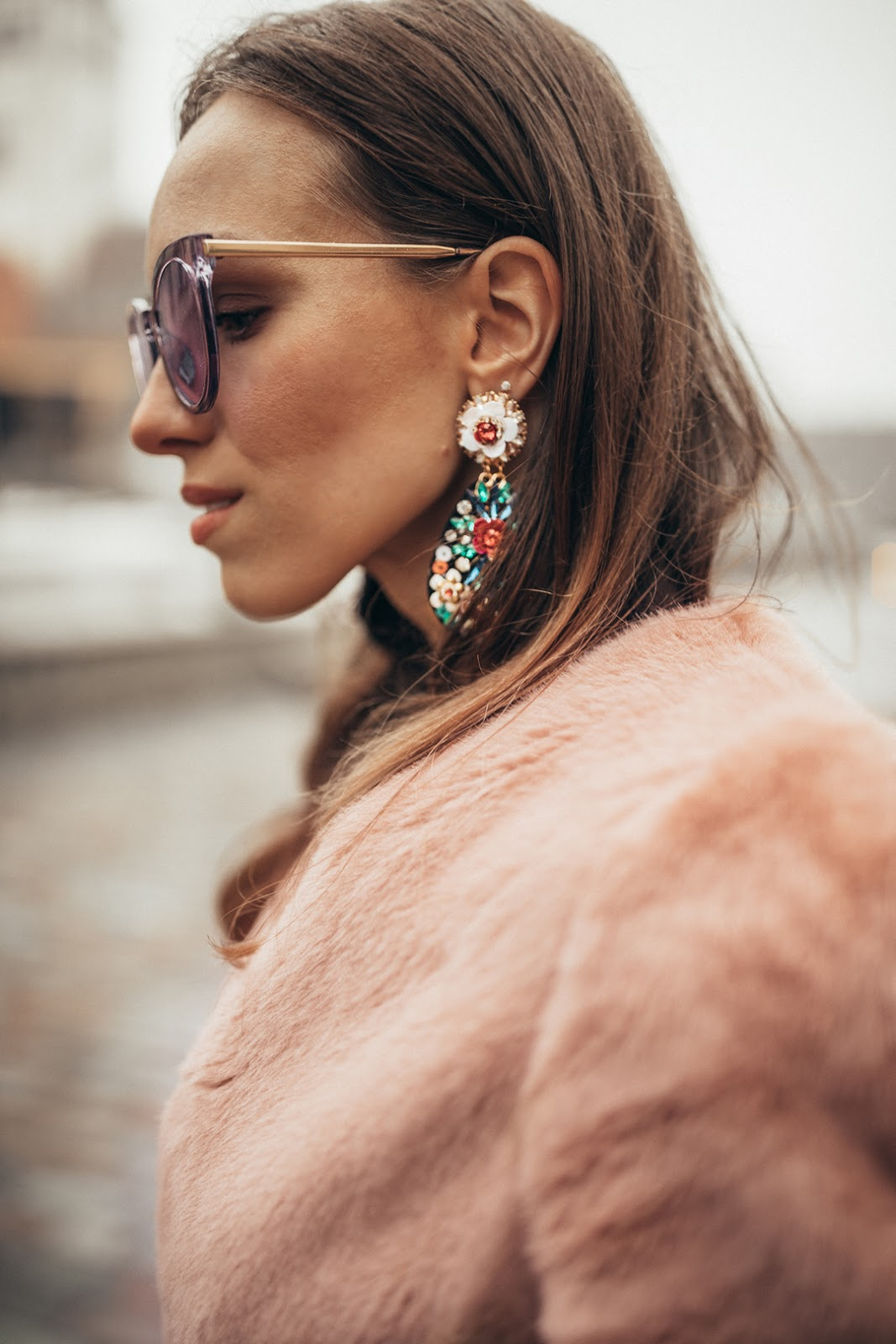 embellished statement earrings purple sunglasses outfit