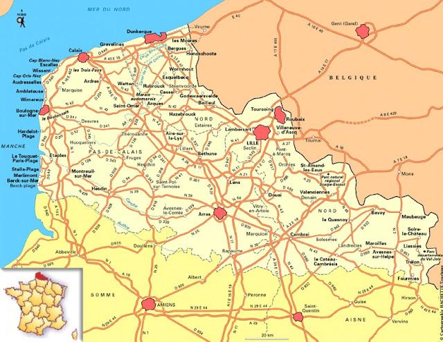 Mapa de Nord Pas de Calais, Francia