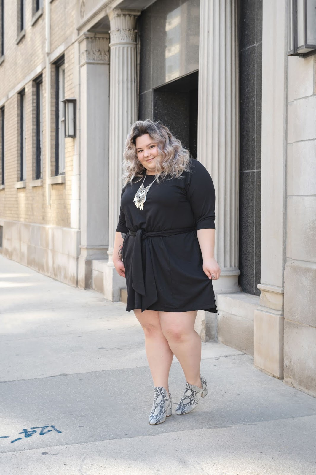 Chicago Plus Size Petite Fashion Blogger, YouTuber, and model Natalie Craig, of Natalie in the City, review's Ori's Signature French Terry Dress.