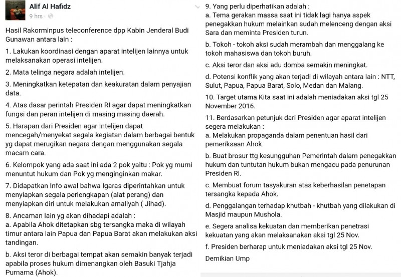 11 poin Hasil Rakor Kominpus Jakarta Kabin yang hoax