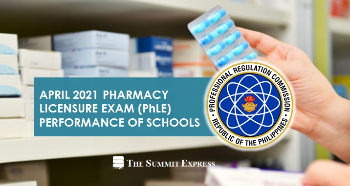 PERFORMANCE OF SCHOOLS: April 2021 Pharmacy board exam results