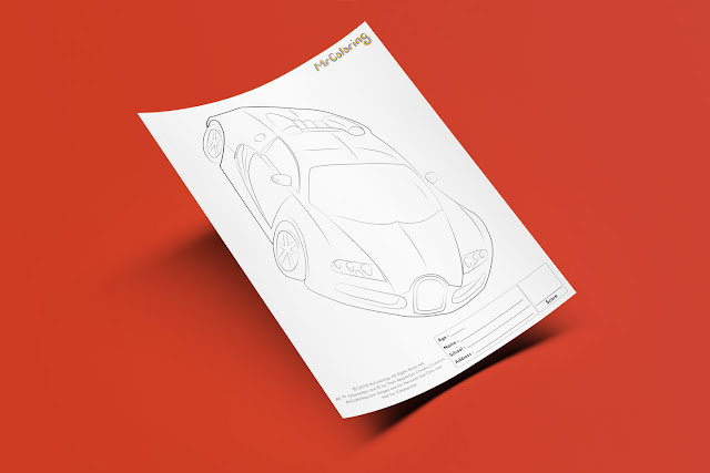 Free Printable Bugatti Sports Supercar Race Car Coloriage Outline Blank Coloring Page pdf For Kids Kindergarten Preschool toddler coloring sheets