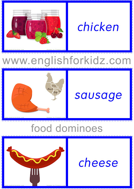 Printable food domino game for English learners