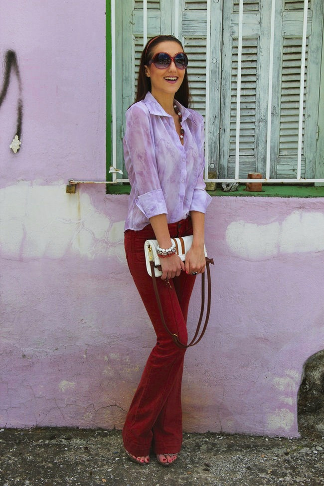 lilac sheer shirt and flared burgundy pants spring outfit