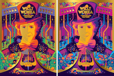 Willy Wonka and the Chocolate Factory Golden Ticket Variant Screen Prints by Tom Whalen x Dark Hall Mansion