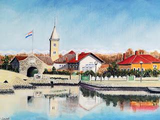 浦安市美術展 奨励賞「クロアチア・ニン」クロアチアの風景