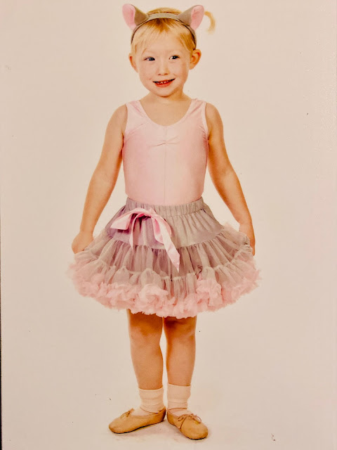 An official show photo of Little in her mouse ballet outfit of a pink leotard, grey and pink tutu, mouse ears, bunches and ballet shoes