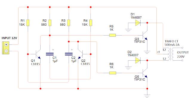 Rangkaian Elektronika : Inverter mini 12V to 220V sederhana dan penjelasannya