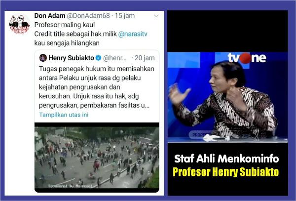 Staf Ahli Menkominfo Posting Video Pembakaran Halte Tanpa Ada Title 'Narasi TV', Don Adam: Profesor Maling Kau!