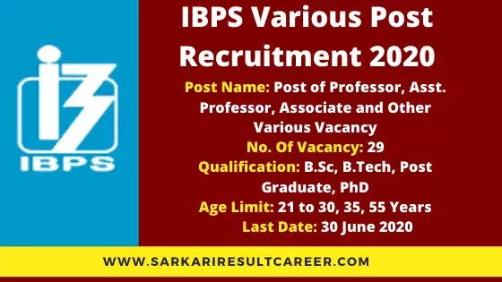 IBPS Various Post Online Form