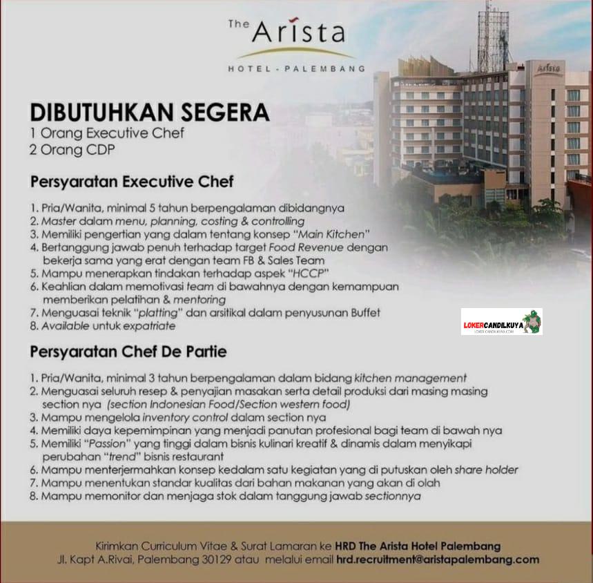 Lowongan Kerja The Arista Hotel Palembang