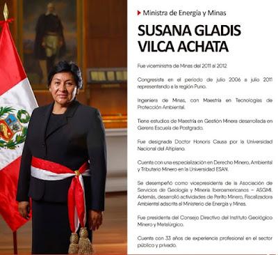 Susana Vilca, ministra de Energía y Minas