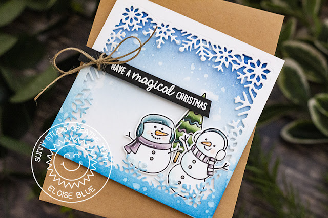 Sunny Studio Stamps: Layered Snowflake Frame Dies Feeling Frosty Winter Themed Holiday Card by Eloise Blue