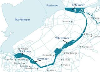 Figure 1.3. Map showing the location of the lakes (Markermeer, IJsselmeer, Ketelmeer, Veluwemeer, Eemmeer, and Gooimeer). In: Wetland eco-engineering with fine sediment