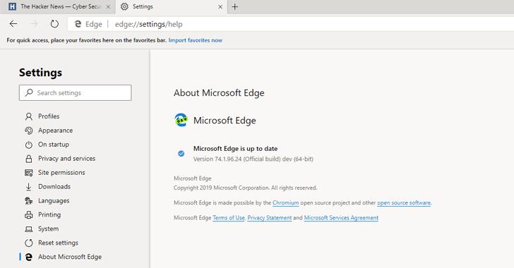 microsoft edge browser chromium
