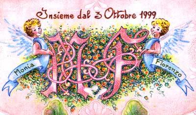 Monogramma MF con angeli dipinti a mano per arazzo di nozze