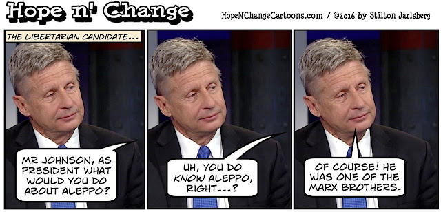 obama, obama jokes, political, humor, cartoon, conservative, hope n' change, hope and change, stilton jarlsberg, gary johnson, libertarian, aleppo