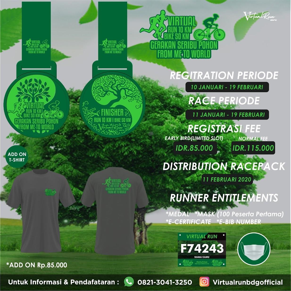 Virtual Run 10 Km & Bike 50 Km - Gerakan Seribu Pohon • 2021