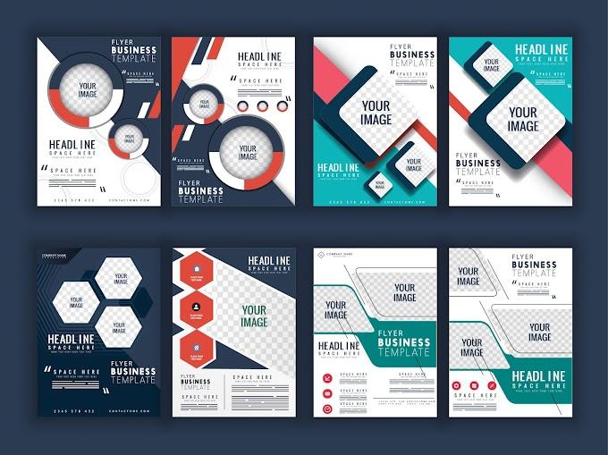 Corporate flyer templates geometric checkered decor Free vector