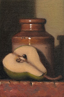 Still life oil painting of half a pear lying beside an earthenware jar.