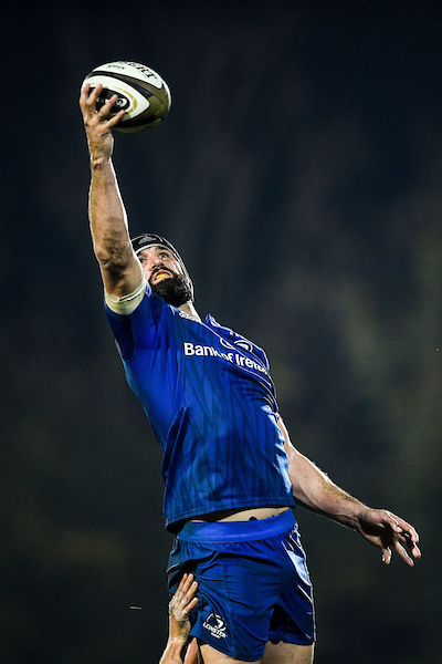 Scott Fardy of Leinster competes in the lineout