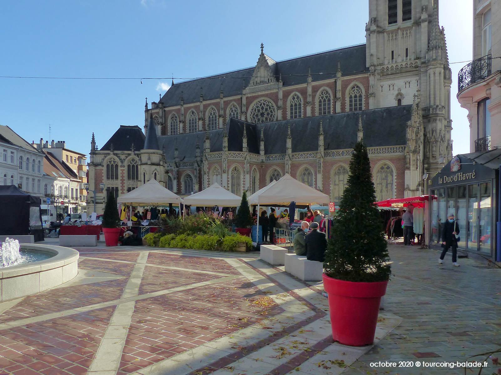 Tourcoing, Marché du Centre, Grand Place et Église Saint-Christophe, 2020