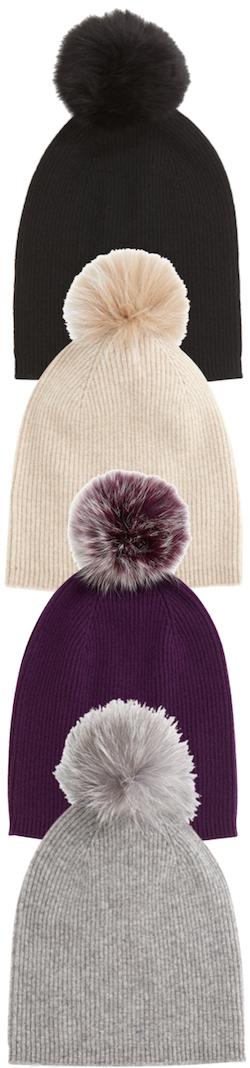 Sofia Cashmere Cashmer fur Pom hat