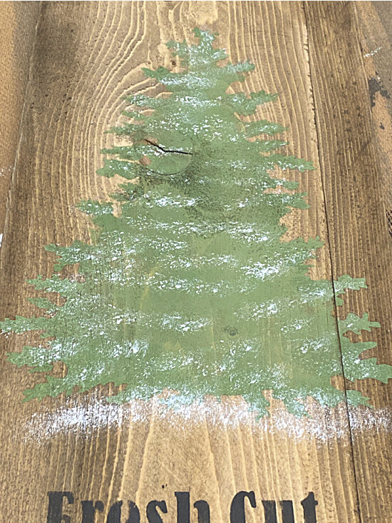 Christmas tree stencil with snow added