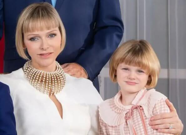 Princess Charlene wore a new Dior jumpsuit and a Dior necklace. Princess Gabriella wore a new Dior pale pink polka dot knit long skirt