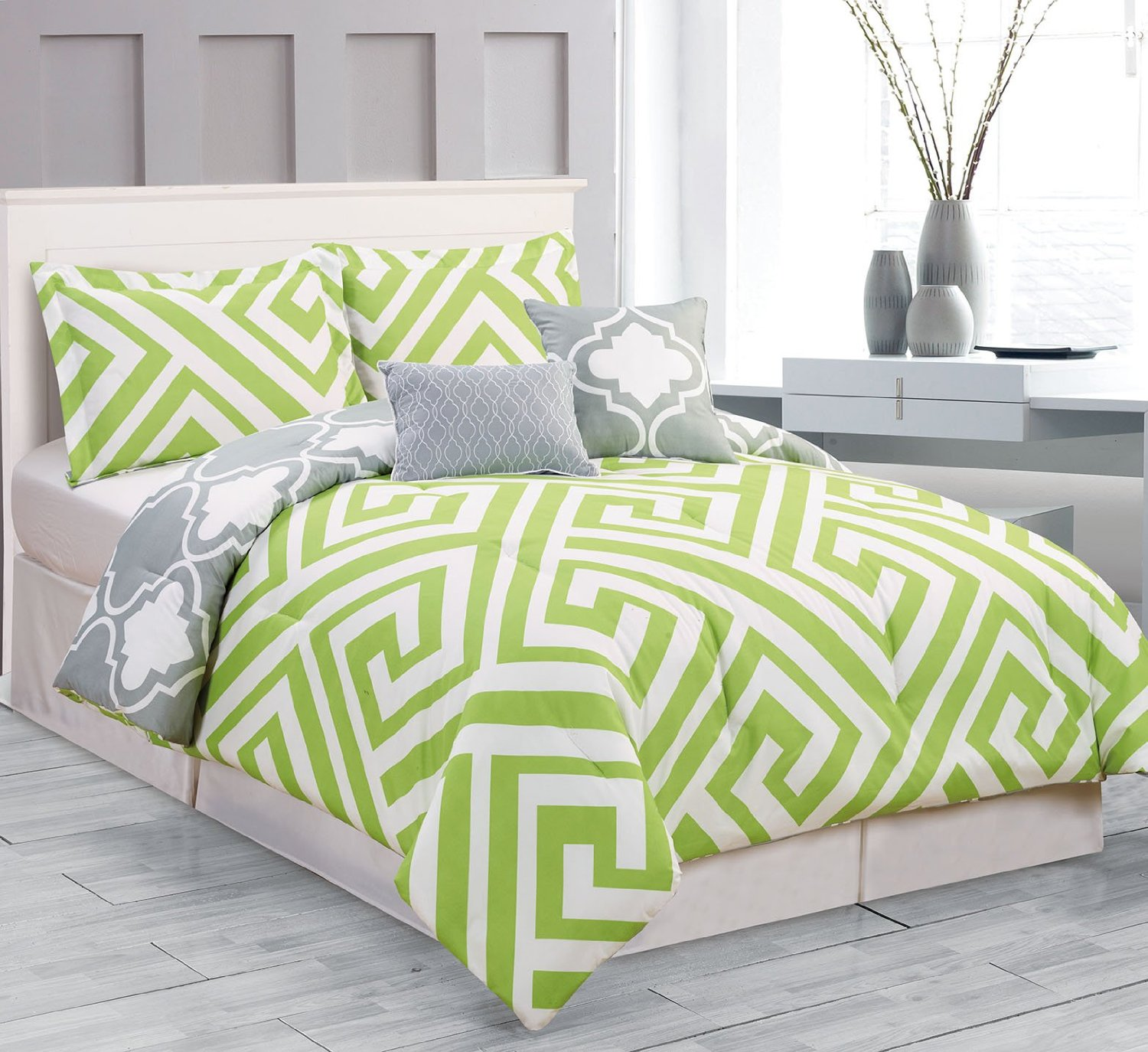 Bon King Size Lime Green And Grey/Gray Comforter Bedding Set