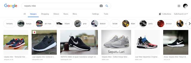 Sepatu nike di pencarian google