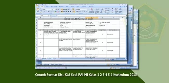 Contoh Format Kisi-Kisi Soal PAI MI Kelas 1 2 3 4 5 6 Kurikulum 2013