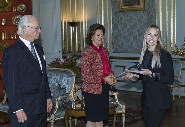 Queen Silvia attended the medal ceremony at Royal Palace