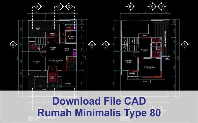 download rumah minimalis type 80 2 lantai file dwg autocad